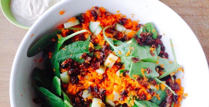 Chili Vinaigrette Salad with Creamy Walnut Sauce (Low FODMAP, SCD, Vegan)
