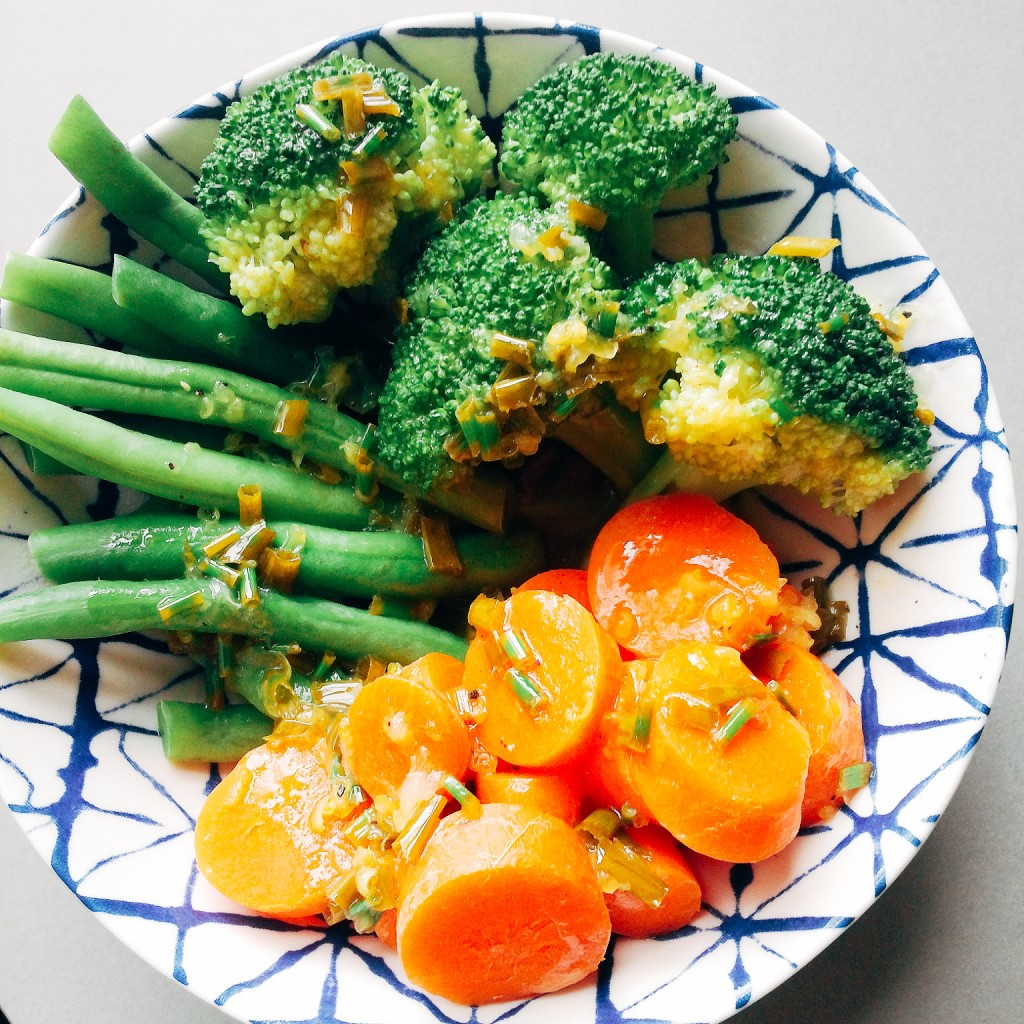 Steamed vegetables with cilantro chive butter