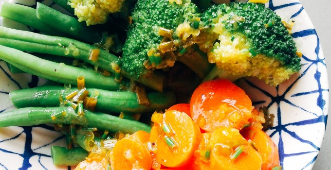 Steamed Vegetables w/ Lemon Chive Butter (Low FODMAP, GF)