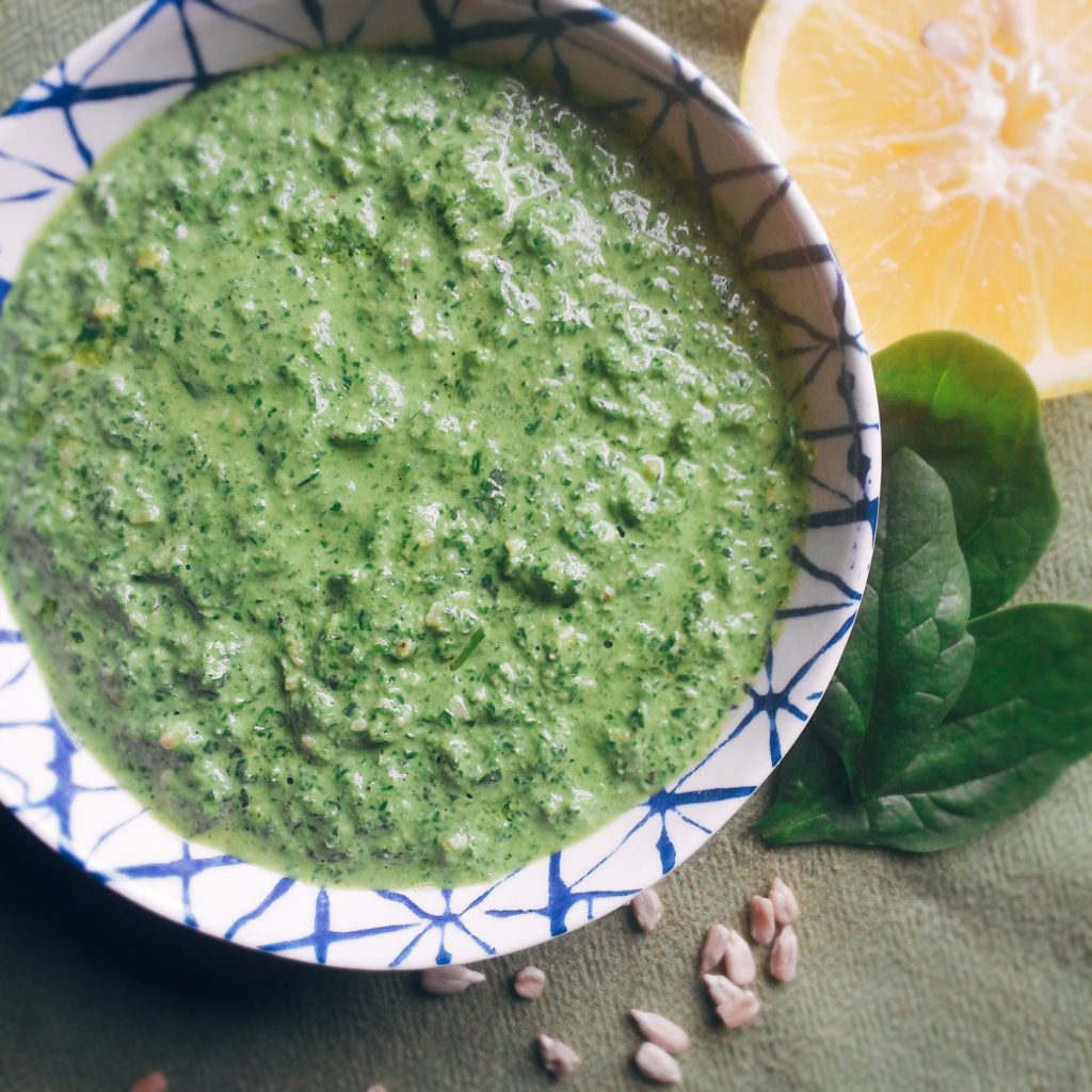 Lemony Basil Spinach Pesto