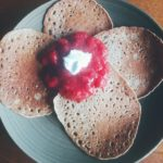 Buckwheat Crepes with Strawberry Rhubarb Compote