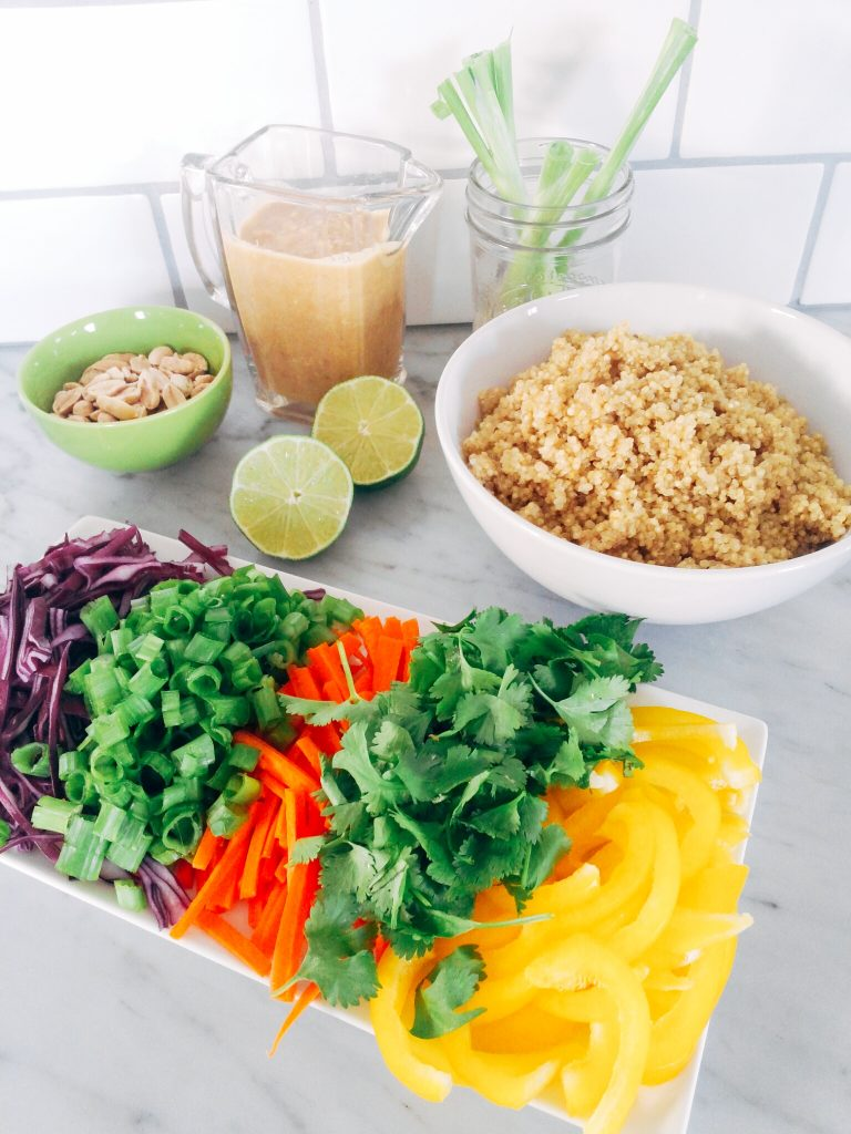 Ingredients for making Low FODMAP Thai Quinoa Salad