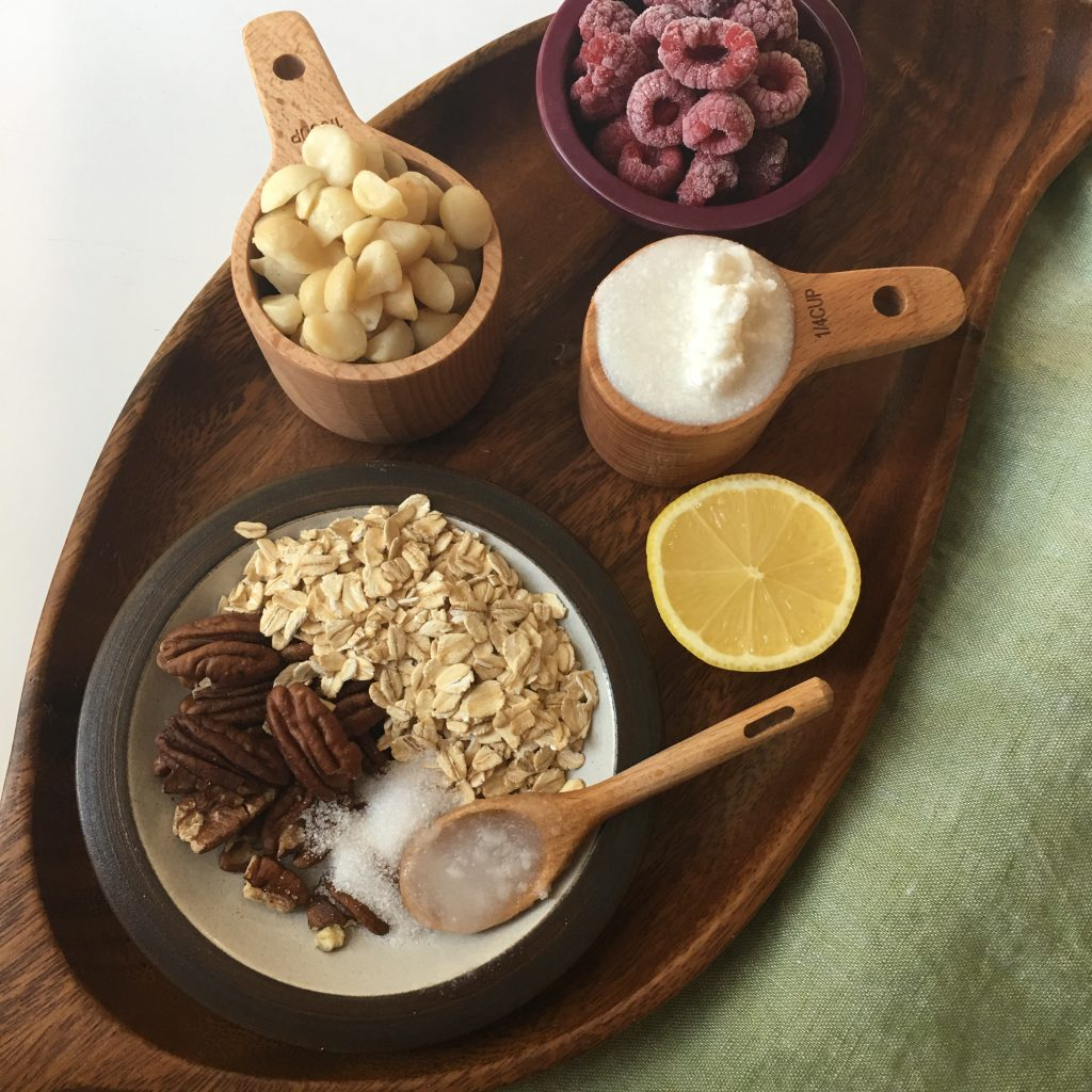 Wood tray of ingredients for making low FODMAP mini cheesecakes