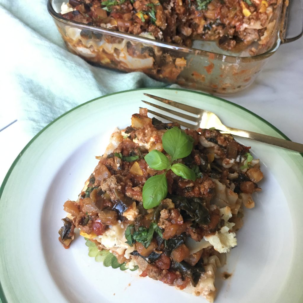 Pan and plate of my low FODMAP lasagna recipe