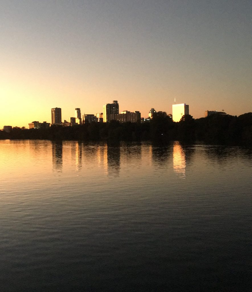 Photo of the Austin skyline to represent how my health is doing after my first year in Austin